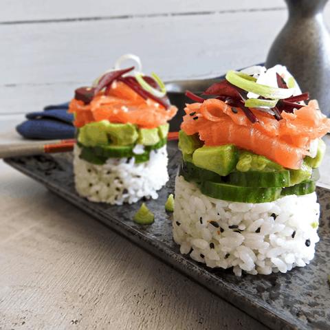Smoked Salmon Sushi Stack