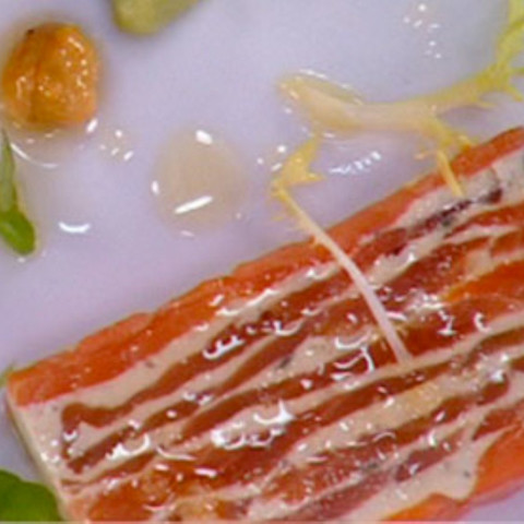 Smoked Salmon Terrine with Hazelnut Herb Salad and Avocado
