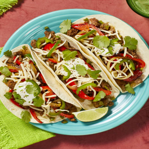 Southwestern Beef Tacos with Bell Pepper, Lime Crema, and Pepper Jack Chees