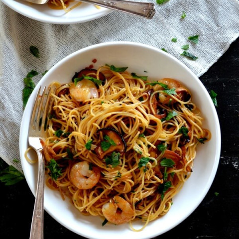 Soy Sauce Butter Pasta with Shrimp and Shiitakes