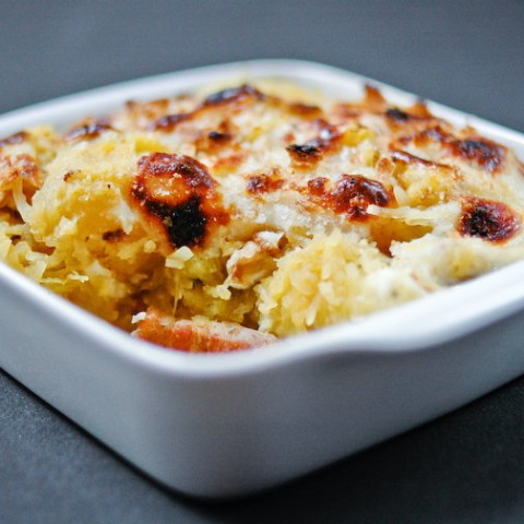 Spaghetti Squash Gratin with Walnut and Bacon Recipe