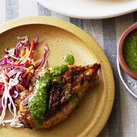 Spanish Spice Rubbed Chicken Breasts with Parsley-Mint Sauce