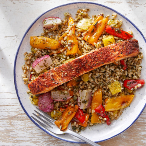 Spanish-Spiced Salmon & Farro with Roasted Vegetables  & Salsa Verd