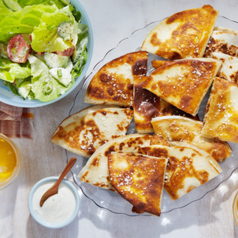 Spiced Chicken Quesadillas with Butter Lettuce Salad & Creamy Lime Dres