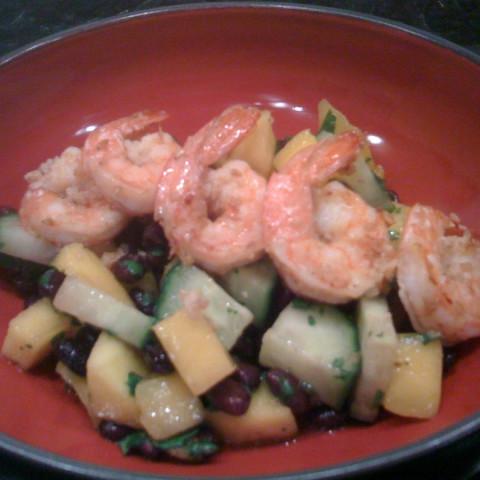 Spicy Black Bean Salad with Sesame-Ginger Shrimp