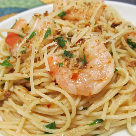 Spicy Shrimp And Garlic And Oil Spaghetti -- Pasta Faves