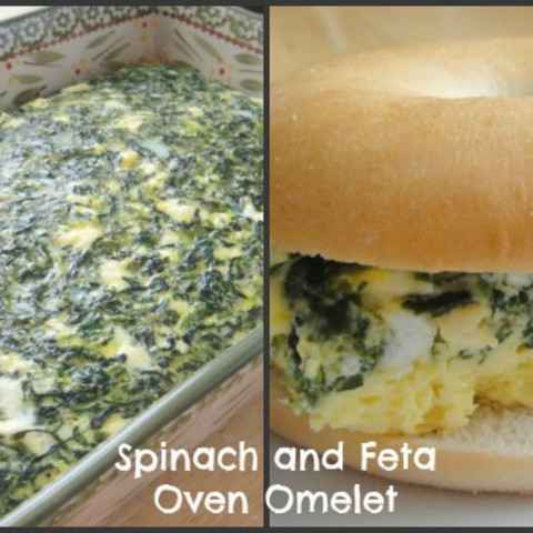 Spinach and Feta Oven Omelet Breakfast Sandwich