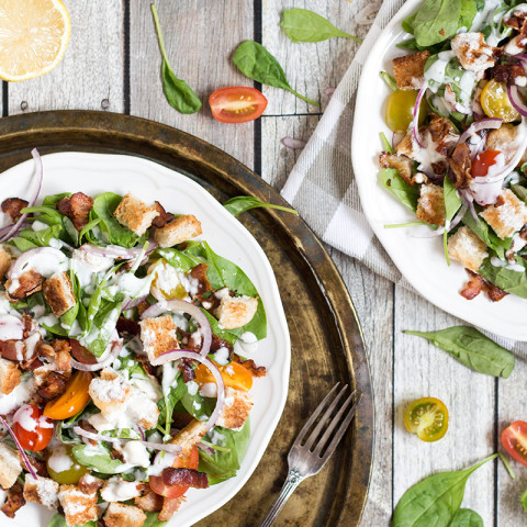 Spinach Bacon Salad with Buttermilk Blue Cheese Dressing
