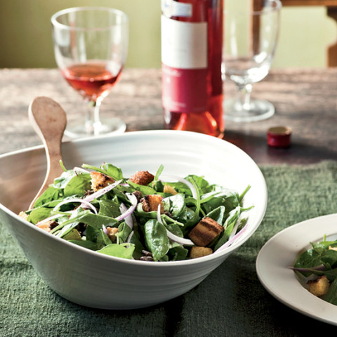 Spinach Salad with Corn Bread Croutons