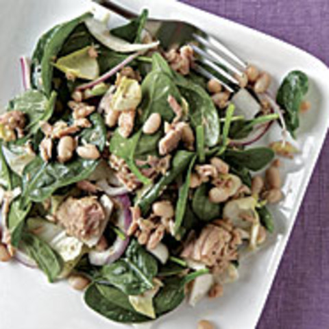 Spinach and White Bean Salad with Tuna