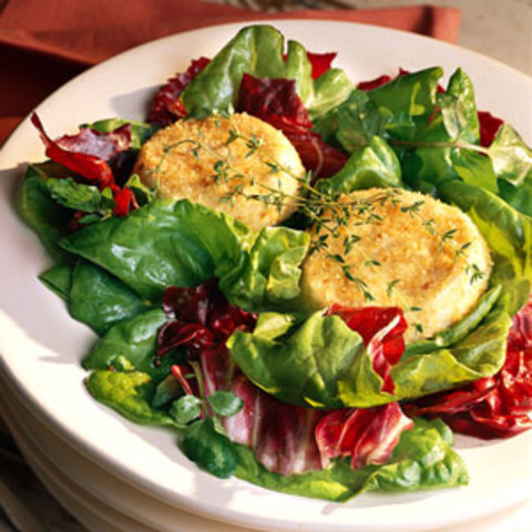 Spring Lettuces with Broiled Goat Cheese