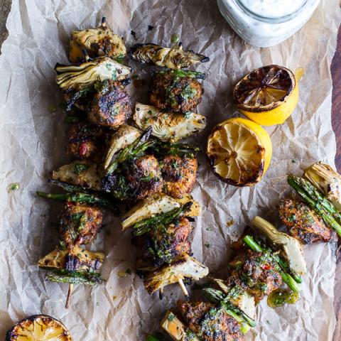 Spring Veggie + Lemon Moroccan Chicken Skewers w/ Minted Goat Cheese Yogurt