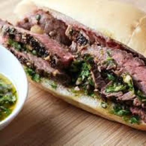 Steak Sandwich with Parsley–Garlic Sauce