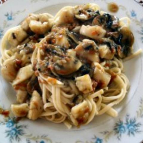 Stir-fried Scallops with Pasta