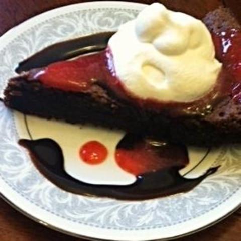 Strawberry Glazed Chocolate Fudge Torte
