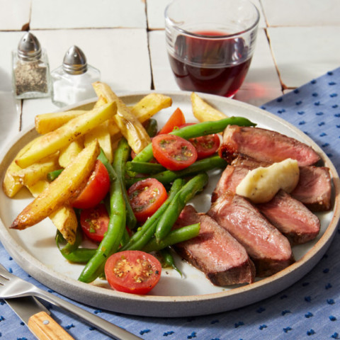 Strip Steaks & Garlic Butter with Oven Fries & Tomato-Green Bean Sa