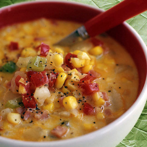Decadent Corn, Potato and Bacon Chowder