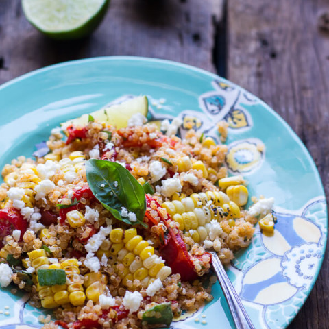 Summer Grilled Mexican Street Corn Quinoa Salad
