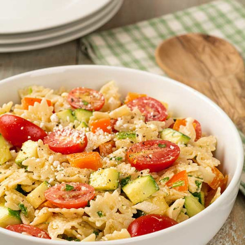 Summer Pasta Salad with Creamy Lemon Dressing