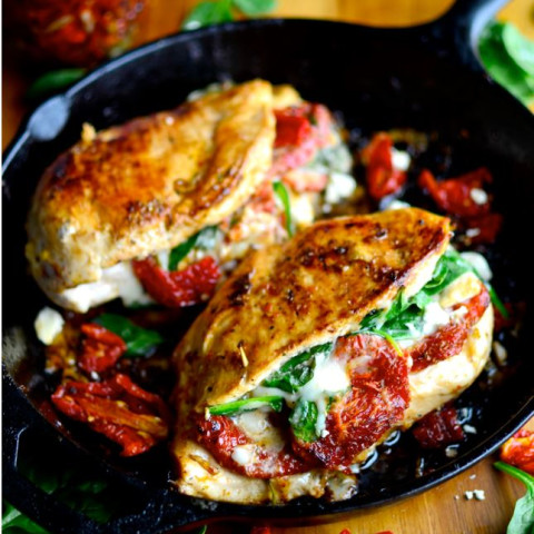 Sundried Tomato Spinach Cheese Stuffed Chicken