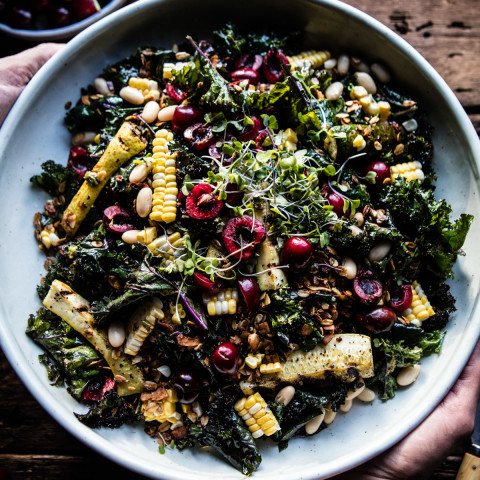 Sunflower Seed, Kale and Cherry Salad with Savory Granola