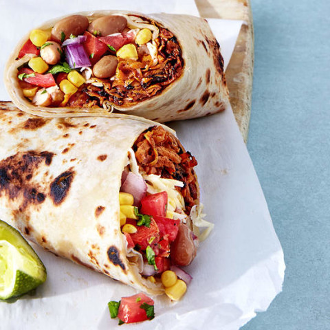 Sweet Potato and Bean Burritos With Corn Salsa