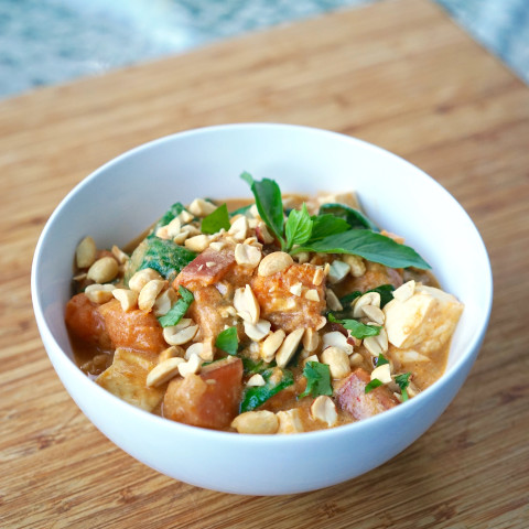 Sweet Potato Peanut Curry with Spinach & Tofu