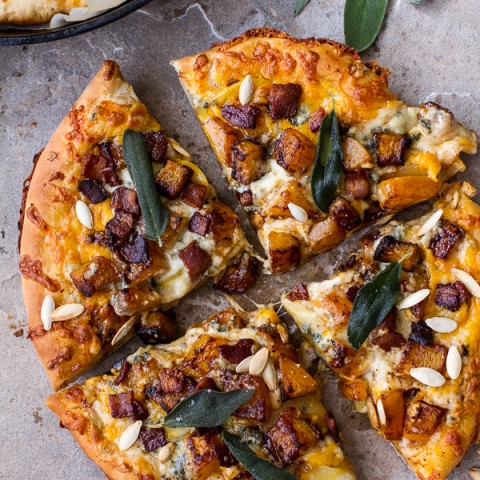 Sweet 'n' Spicy Fall Harvest Pizza w/ Roasted Butternut, Caramelized Onions