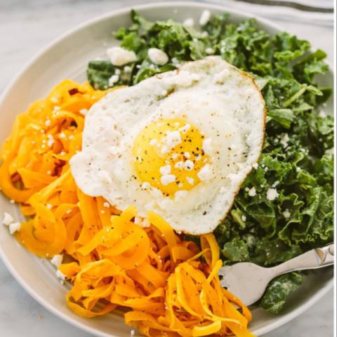 Tahini Kale Salad with Spiralized Butternut Squash and Feta