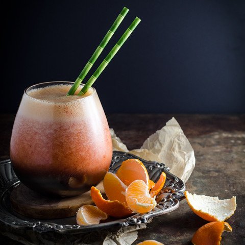 Tangerine and Strawberry Smoothie