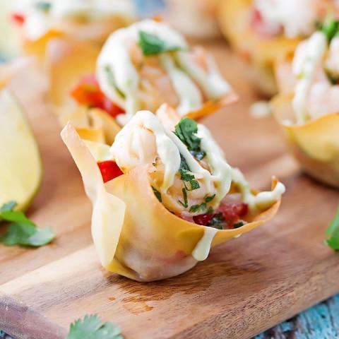 Tequila Shrimp Taco Cups with Avocado Cream