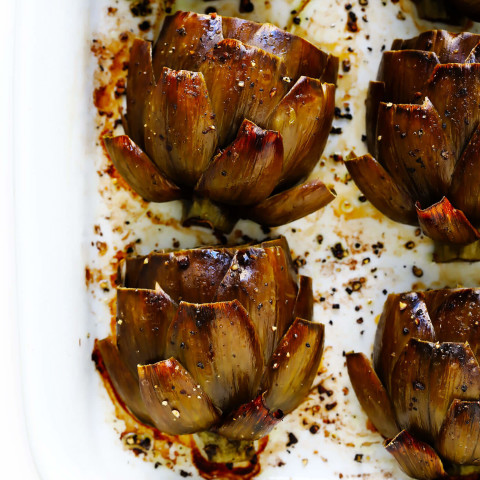 The Most Amazing Roasted Artichokes