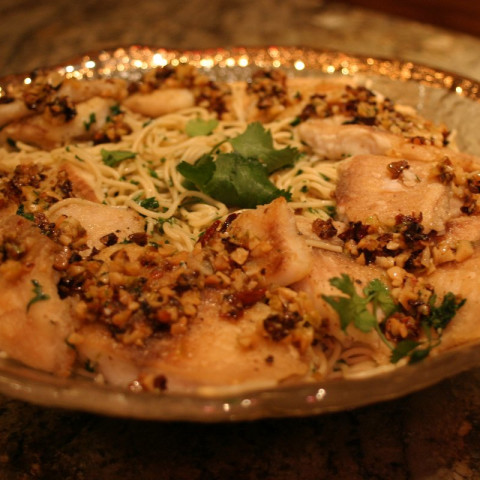 Tilapia with Garlic Sauce and Pasta