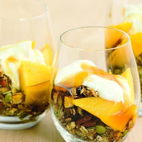 Toasted muesli, mango & yoghurt breakfast parfait