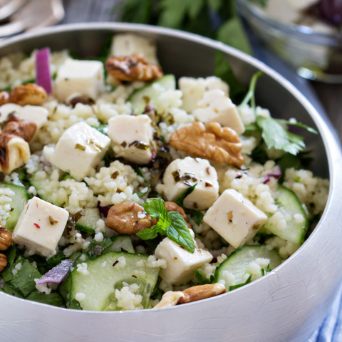 Toasted Israeli Couscous Salad with Mint, Cucumber, and Feta
