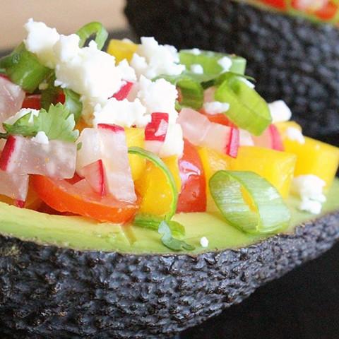 Tomato, Pepper, and Radish Salad in Avocado Shell