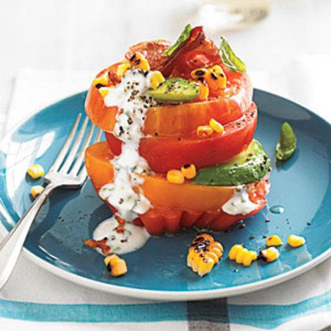 Tomato Stack Salad with Corn and Avocado