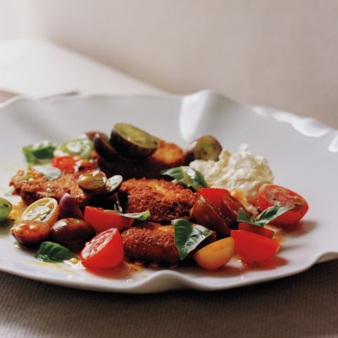 Tomatoes with Crisp Fried Eggplant and Burrata