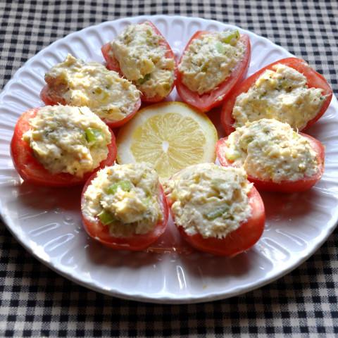 Tuna Salad in Roma Tomato Boats