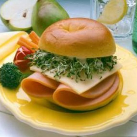 Turkey on Bagel with Sprouts