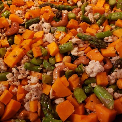 Turkey, sweet potato, asparagus, cashew stir fry