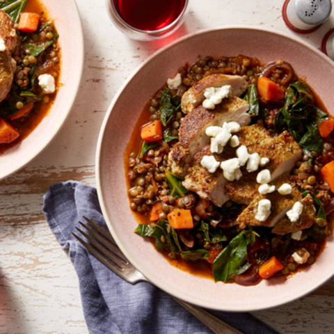 Tuscan Chicken & Green Lentil Stew with Goat Cheese