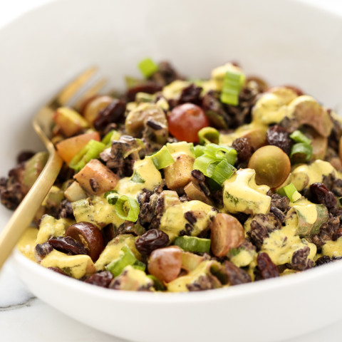 Vegan Black Rice Crunch Salad with Creamy Curried Cashew Dressing