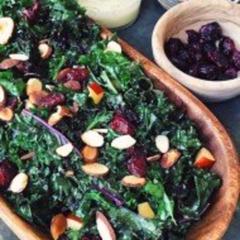 vegan kale salad with sweet lemon maple dressing