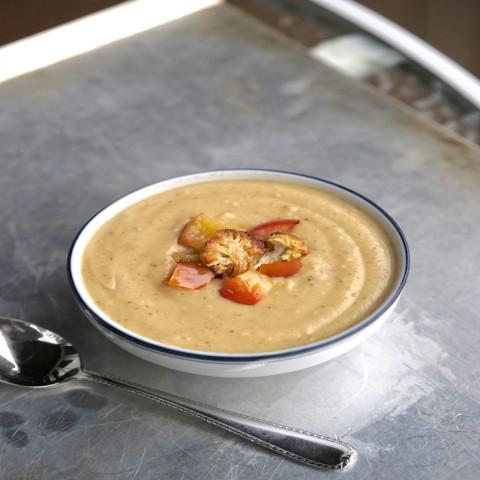 Vegan Roasted Cauliflower, Apple & Potato Soup