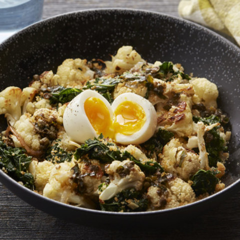 Warm Cauliflower and Kale Saladwith Soft-Boiled Eggs and Sauce Meunière
