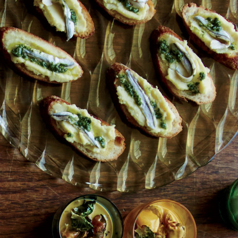 White Anchovy Toasts with Parsnip Butter
