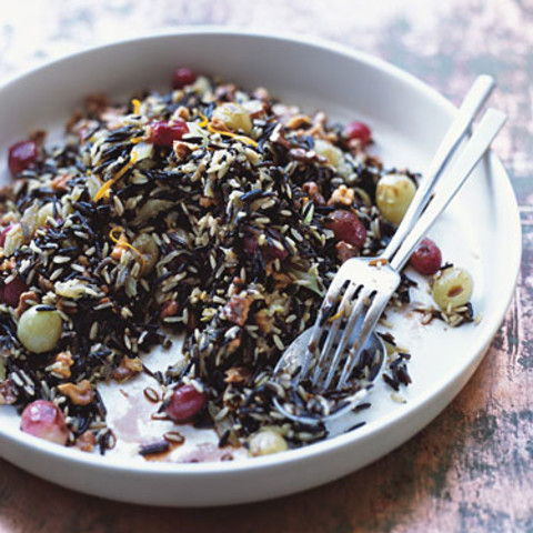 Wild Rice Dressing with Roasted Grapes and Walnuts