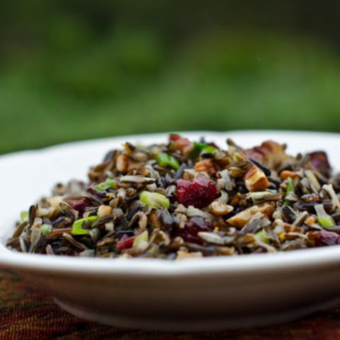 Wild Rice Salad with Cranberries and Pecans