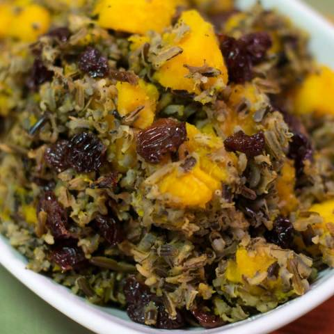 Wild Rice with Butternut Squash and Dried Cherries